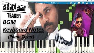 Vakeel Saab Teaser BGM Keyboard Notes (piano cover) | Pawan Kalyan | Thaman S