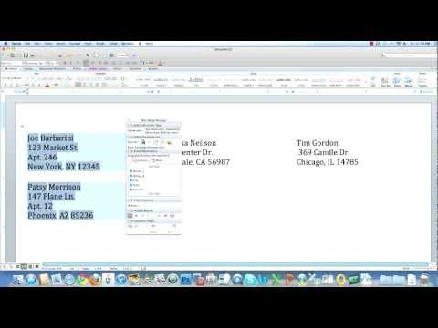Microsoft Office Word MAC: Mail Merge