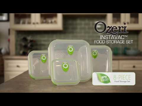 Ozeri INSTAVAC Green Earth Food Storage Container Set, with Vacuum Seal and Locking Lids