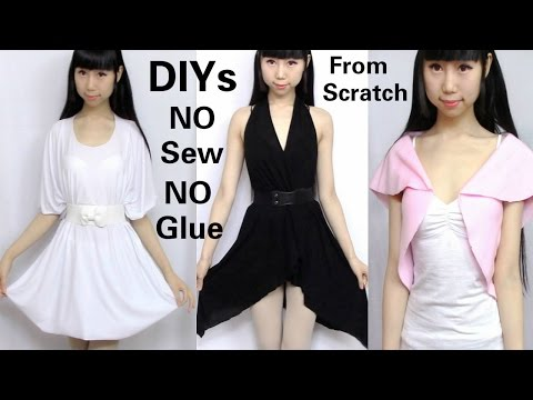 3 DIY NO Sew&NO Glue Clothes from Scratch: DIY Dress + V-neck Asymmetrical Dress + Mini Top
