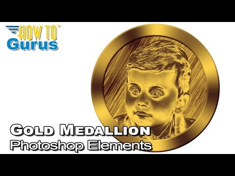 How to Make a Gold Medallion Portrait Logo in Adobe Photoshop Elements 2018 15 14 13 12 11 Tutorial