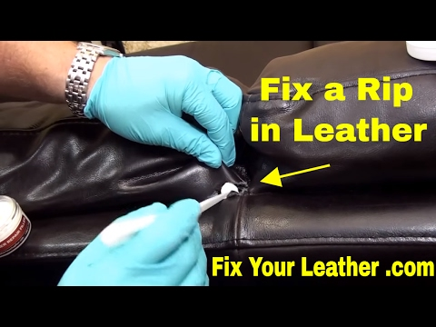 BYCAST LEATHER REPAIR in back panel- using LEATHER FILLER and LEATHER DYE