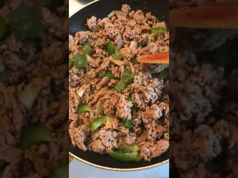 Ground turkey with green bell peppers & diced sweet onions ready for the crockpot