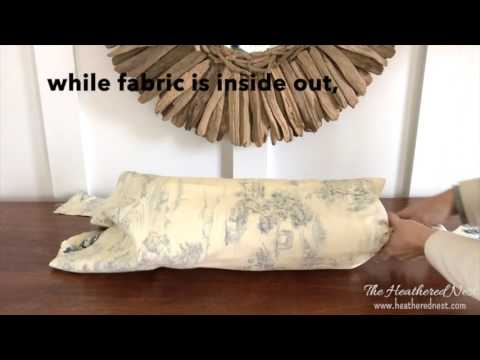 One-minute DIY bolster pillow + a quick, easy, no sew pillow cover!