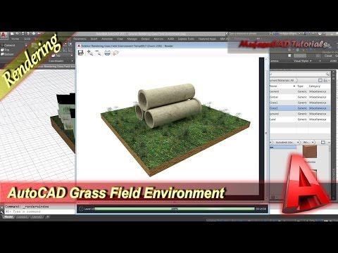AutoCAD Exterior Rendering Grass Field Environment