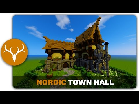 Minecraft Building Tutorial : How to build a Nordic Town / City Hall