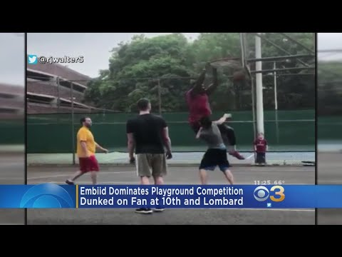 Sixers' Joel Embiid Heads To Blacktop Court, Dunks On Another Guy In Philadelphia