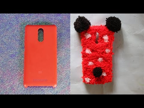 RECYCLE OLD PHONE CASE WITH YARN /WOOL    DIY MINNIE CASE  