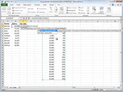 VLOOKUP 4 Using absolute cell reference