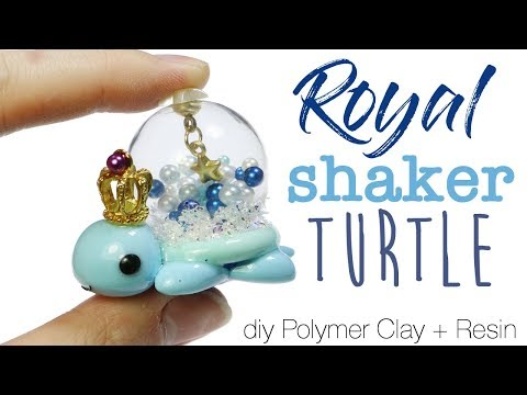 How to DIY Kawaii Royal Shaker Turtle Polymer Clay/Resin Tutorial