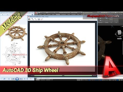 Autocad Tutorial 3D Modeling + Rendering Ship Wheel Practice Exercise 40
