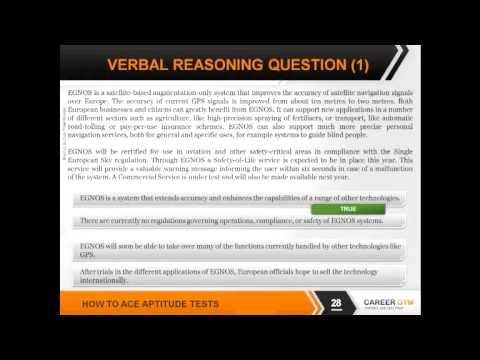 Verbal Reasoning and Comprehension - How To Ace Aptitude Tests 3/7