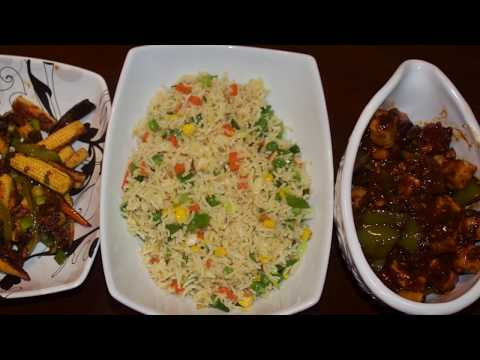 Indian Desi Veg Chinese Thali | Chili Panner , Veg Fried Rice & Baby Corn Manchurian Recipe