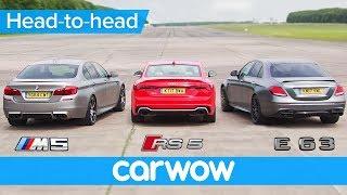Mercedes-AMG E63 S v BMW M5 v Audi RS 5 DRAG & ROLLING RACE | Head2Head