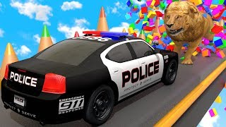 Police Car Breaking Blocks and Painting Street Vehicle with Learn Colors | ZORIP