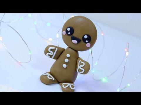 How to make fondant GINGERBREAD MAN - Christmas cake topper / Christmas cake decorating