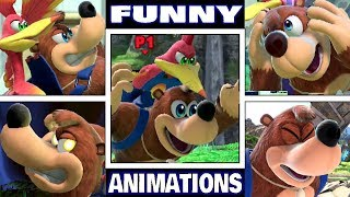 Banjo Kazooie Various FUNNY ANIMATIONS in Smash Bros Ultimate (Drowning, Dizzy, Star KO, & More!)