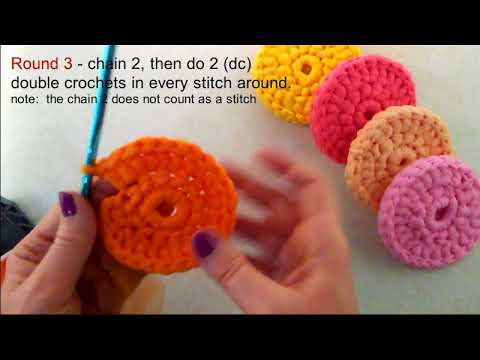 How to Crochet Round Tulle Dish Scrubber (Dish Scrubby Tutorial with Instruction Notes)