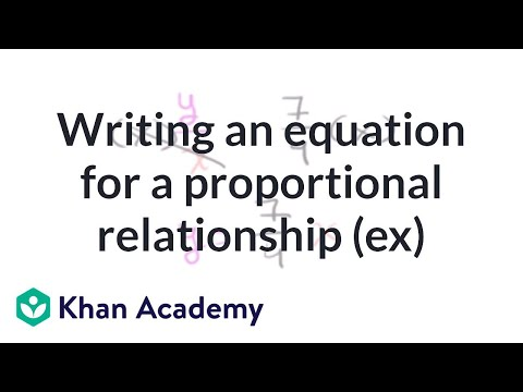Writing an equation for a proportional relationship (example) | 7th grade | Khan Academy