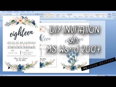 DIY INVITATION on MS Word 2007││Re creating