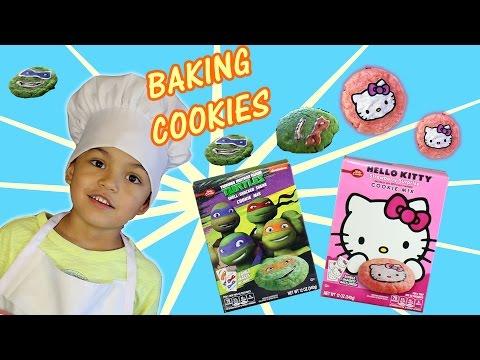 Kid Baking Teenage Mutant Ninja Turtles and Hello Kitty Cookies │ DIY │ Kids Video