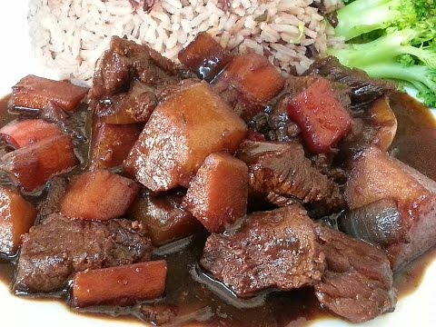 Jamaica Brown Stew Beef Served With Rice & Peas & Veg | Recipes By Chef Ricardo