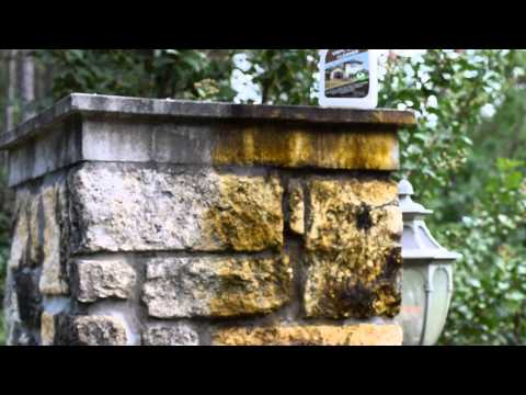 DROP-OFF Vinyl Siding Cleaner (Black Mold on Stone Columns)