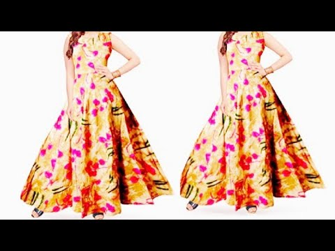 Umbrella cut long gown cutting and stitching..