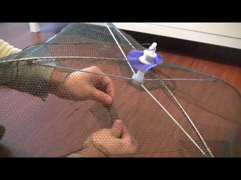 Foldable Umbrella Fish Minnow Crawfish Shrimp Crab Net Trap for about $6!