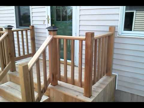 Cedar deck with steps concrete replacement