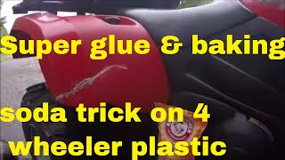 SUPER GLUE & BAKING SODA, hard in seconds 5 times stronger fix plastic, wood, leather.