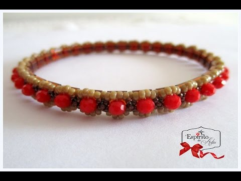 Blossom beaded bangle with tila beads and 3x4mm rondelles - Beading Tutorial