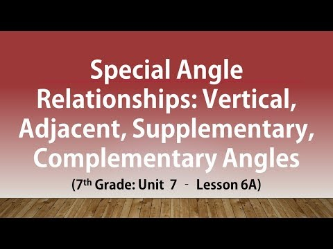 Special Angle Relationships: Vertical, Adjacent Supplementary & Comp.Angles (7th Grade U7 Lesson 6A)