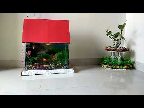 Aquarium Decoration Idea with Colorful stones, Artificial plants and Scenery