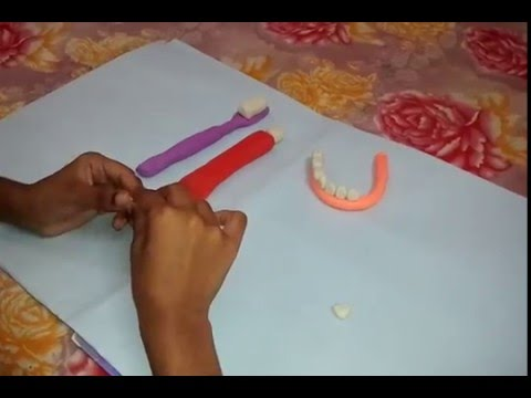 Clay art-making tooth brush and tooth paste