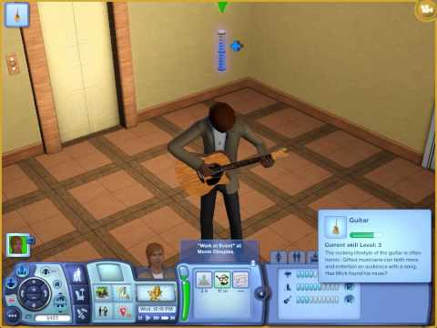 The sims 3 Late Night gameplay 14 Guitar level up one