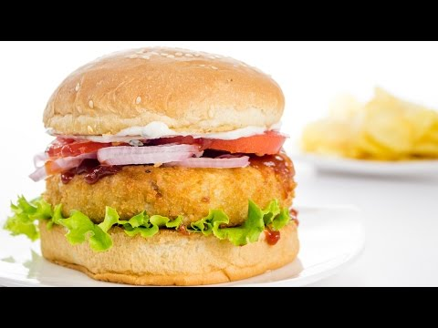Veggie Burger Recipe | Indian Style Veg Aloo Tikki Burger Recipe