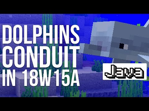 Dolphins and Conduit in Minecraft Snapshot 18W15A