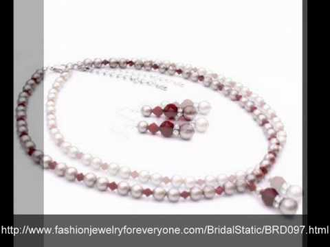 New Class Platinum Champagne Pearls w/ Coral Red Crystals  by FashionJewelryForEveryone.com