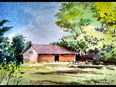 Beginners Watercolor : How to Draw A House Landscape   Paint with david