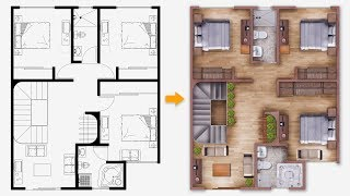 [PART 01] Easy Plan Render | Single house plan render in Photoshop