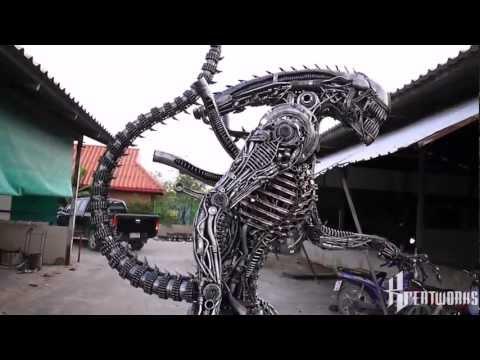 Recycled Metal Horror Alien