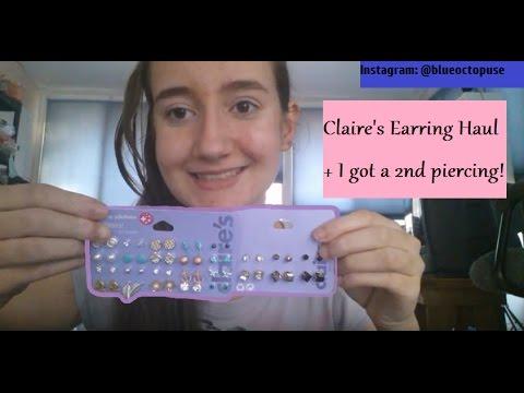 How I Got My 2nd Ear Piercing + Claire's Earring Haul