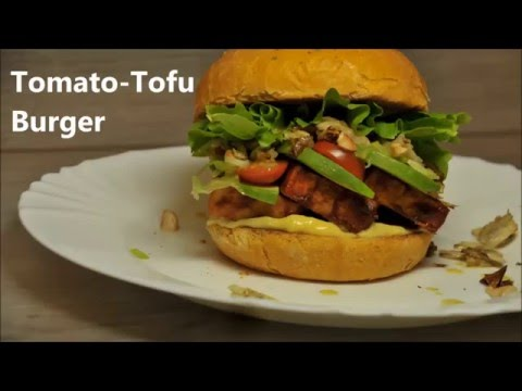 Vegetarian / Vegan Burger with Tofu and Tomatoes