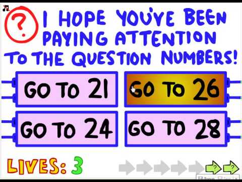 How to beat the first 42 levels of the impossible quiz.