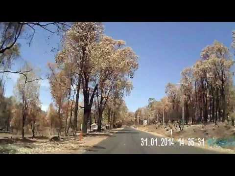 Perth Hills Bushfire dashcam video - two weeks later (Traylen Rd)