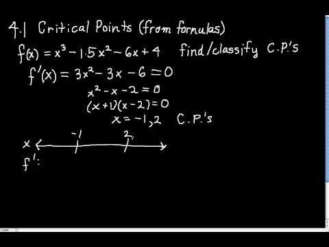 4.1.4  How to classify critical points when given formula