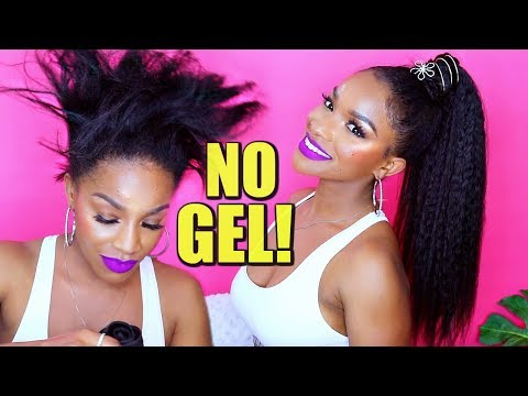 My NO GEL Kinky Straight Ponytail with Weave | Talk-Through