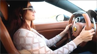 GIRL driving a FERRARI in DUBAI !!!