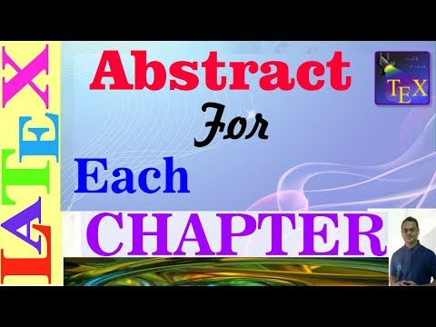 Add an Abstract for Each Chapter in LaTeX (LaTeX: Tips/Solution-36)